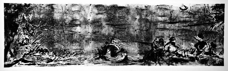 """Gabriele Camilli - Title : """"Solitudine"""" - Personal technique: Cromomonotipo su tela - Dimension : cm 150 x 50 - Year : 2006"""