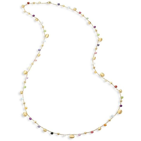 Marco Bicego Paradise Semi-Precious Multi-Stone Graduated Long... ($4,660) ❤ liked on Polyvore featuring jewelry, necklaces, engraved jewelry, semi precious stone jewellery, 18 karat gold necklace, fine jewellery and engraved necklace