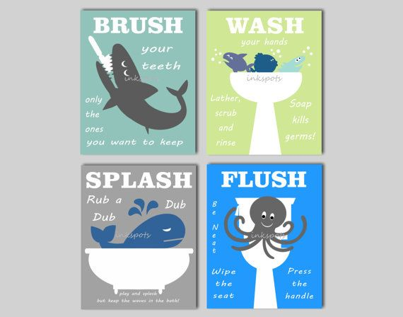Kids Bath Wall Art Bath Rules Prints Kids Bath Art Nautical Kids Bath Prints Choose Colors Splash Flush Brush Your Teeth Kb02