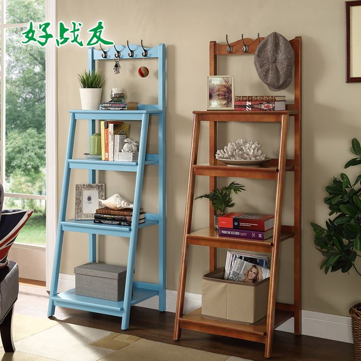 Good fellow American shelves wall shelving multilayer wood floor office ladder racks Storage Rack