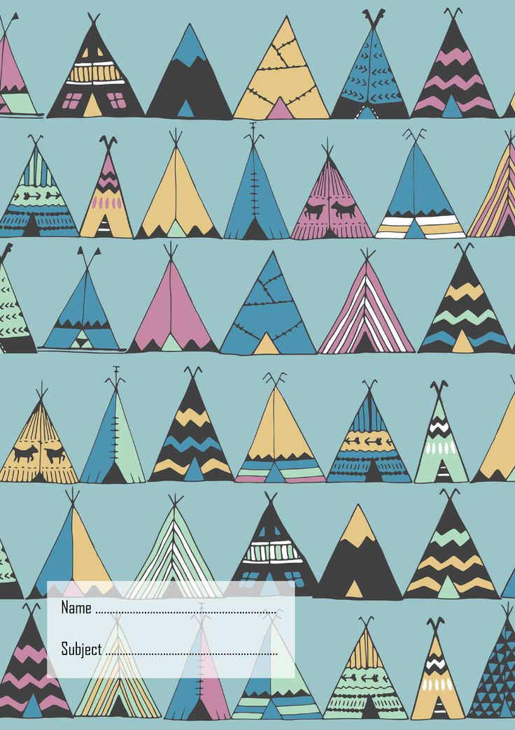 Teepees Exercise Book Cover, School Book Cover (AU size 9x7), A5 Notebook Cover size (perfect for your Well Child Tamariki Ora My Health Book) #teepee #teepees #bookcover