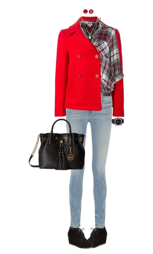 """""""Casual Fall Outfit With Toms Wedge Booties"""" by ittie-kittie ❤ liked on Polyvore featuring Anne Klein, Golden Goose, TOMS, Alexander Wang, River Island, Satya Jewelry, MICHAEL Michael Kors and Briston"""