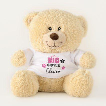 Big Sister | Custom Name Plush Teddy Bear - baby gifts child new born gift idea diy cyo special unique design