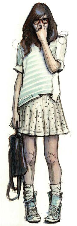 Ilustración-retrato de cuerpo entero