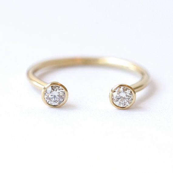 Dual Stone Ring - Diamond Wedding Ring - Horseshoe Ring - 0.3 Carat Round Diamonds - 18k Gold