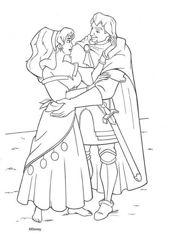 Esmeralda And Phoebus 3 Coloring Page Warm Up Your Imagination Color Nicely This From The Hunchback Of Notre