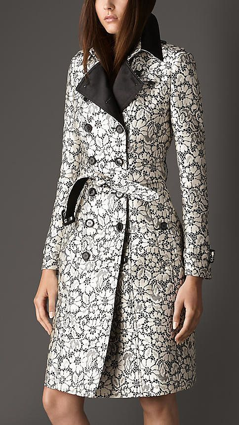 Ultimate Fantasy: I don't know what I love more about this Burberry trench coat ($2,495) — the delicate black-and-white lace detailing or the ultrasleek silhouette.