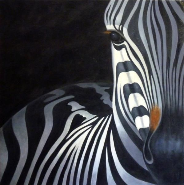 Zebra oil painting black and white alabaster and for White and black paintings