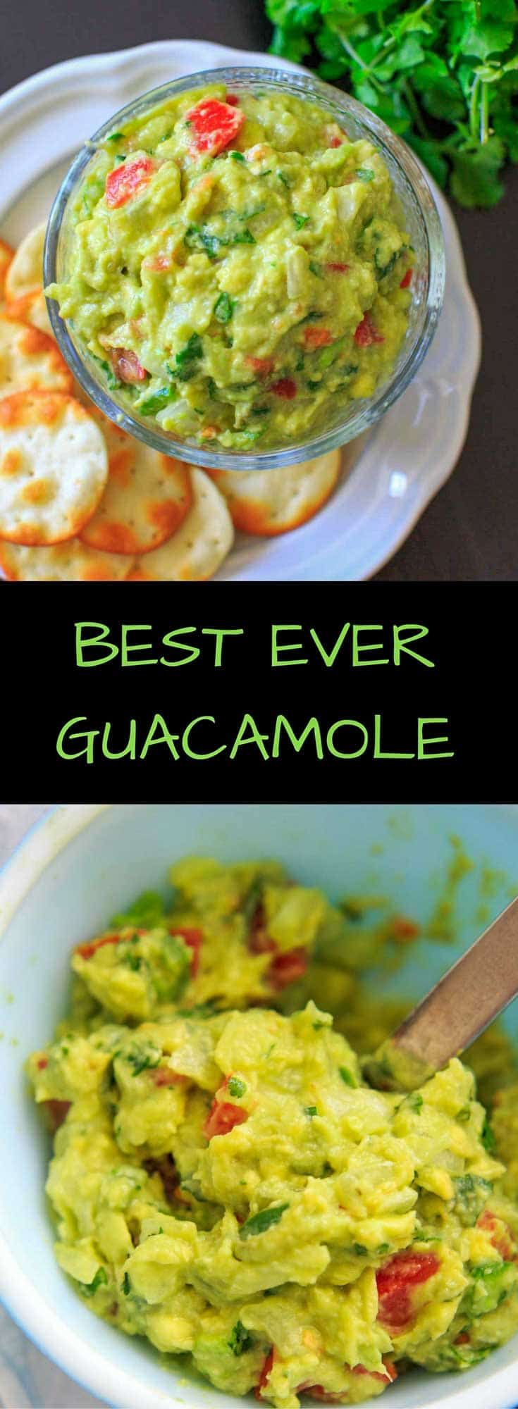 The BEST EVER guacamole recipe that's a little spicy, full of flavor and naturally vegan and gluten-free. Includes tips on how to make it your own if your taste buds can't handle cilantro or spicy.