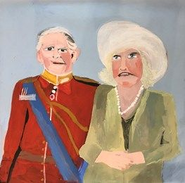 Prince Charles and Camilla by Vincent Namatjira contemporary artwork