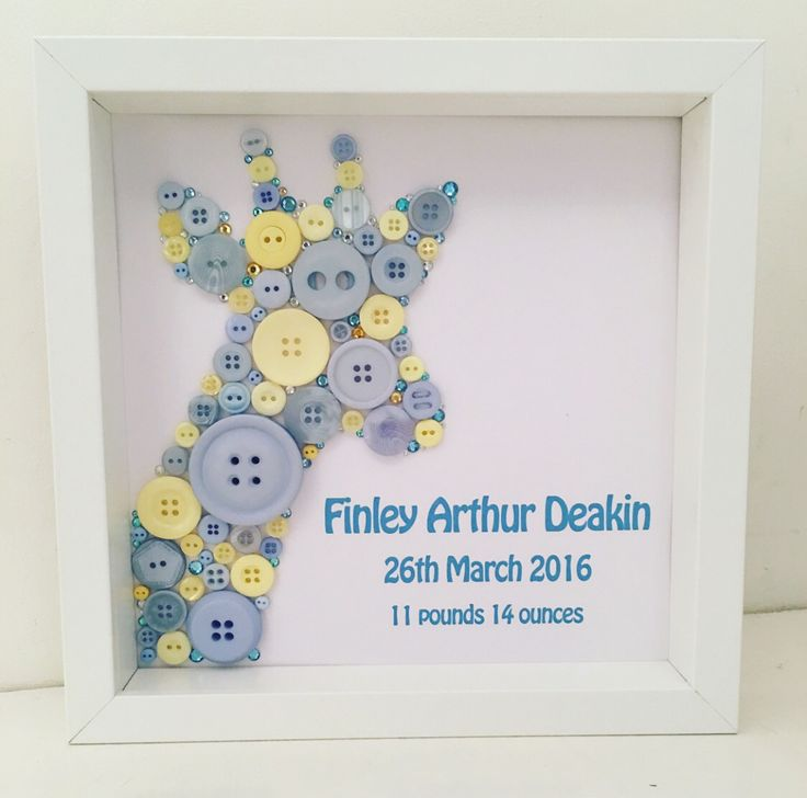 Giraffe Button Picture - Personalised Baby Gift. Safari Animal Nursery Decor. Blue and lemon buttons with name, birthdate and birth weight. Handmade by Button People http://instagram.com/buttonpeople https://www.facebook.com/buttonpeople/