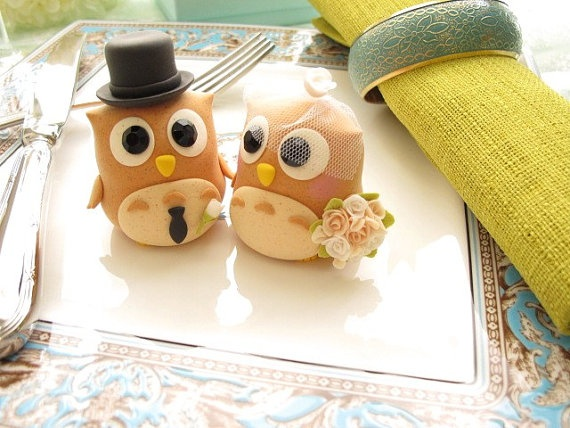 Special Edition----LOVE ANGELS Wedding Cake Topper-love owls with sweet heart base