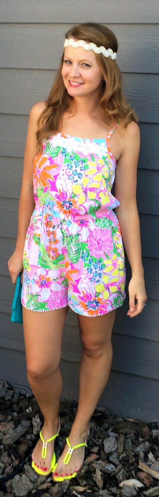 Sweet Bananie [7.21.15] printed @LillyPulitzer romper, neon sandals, bejeweled headband + turquoise clutch