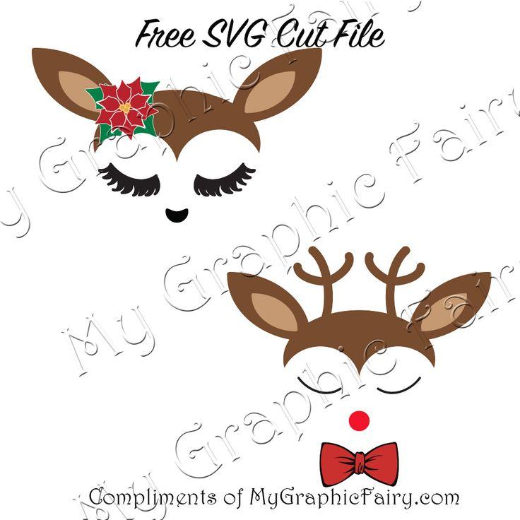 Cute Reindeer Faces SVG Files - http://mygraphicfairy.com/2017/11/cute-reindeer-faces-svg-files/