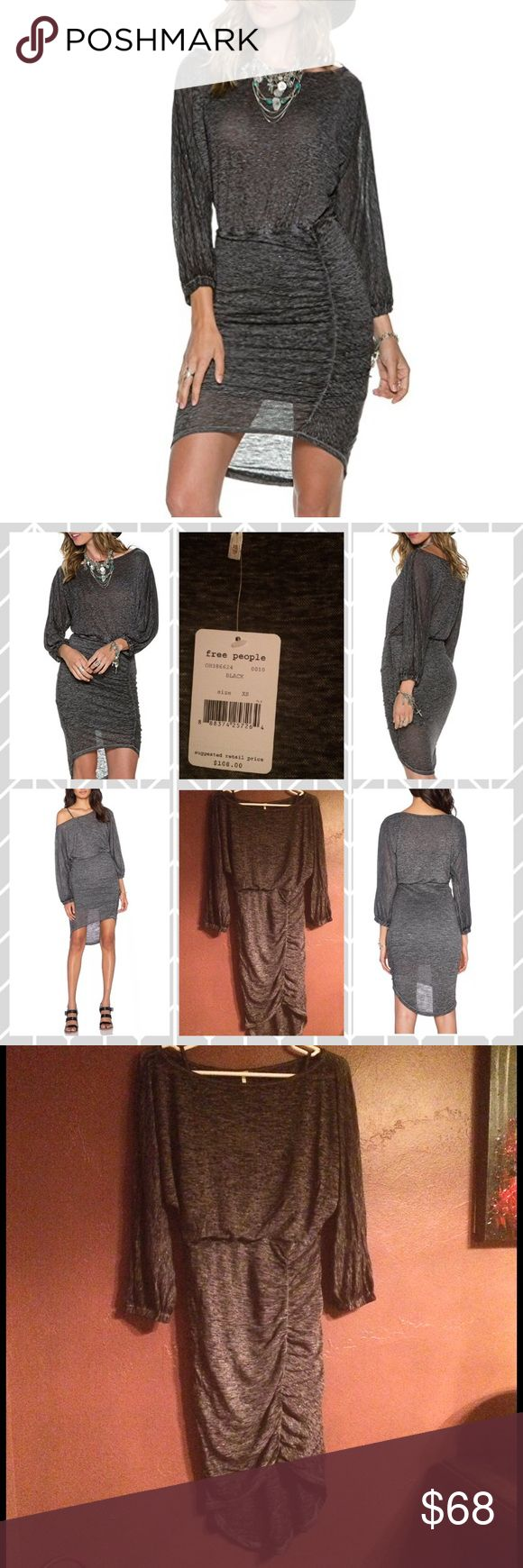 Free People Tidepool Midi Knit Asymmetrical Dress 🌺Free People🌺 Women's Tidepool Midi Knit Dress - photos don't do justice for this dress it will shape your figure so sexy Condition: New With Tags Retails: $108 Size: XS - Black & Gray Heathered - Slubbed knit dress - cinched detailing at side for a flattering & feminine silhouette. - Round neckline & three-quarter dolman sleeves with elastic cuffs. - Pull-on design. - Elastic waist flatters your figure - Asymmetrical hemline. - 51%…