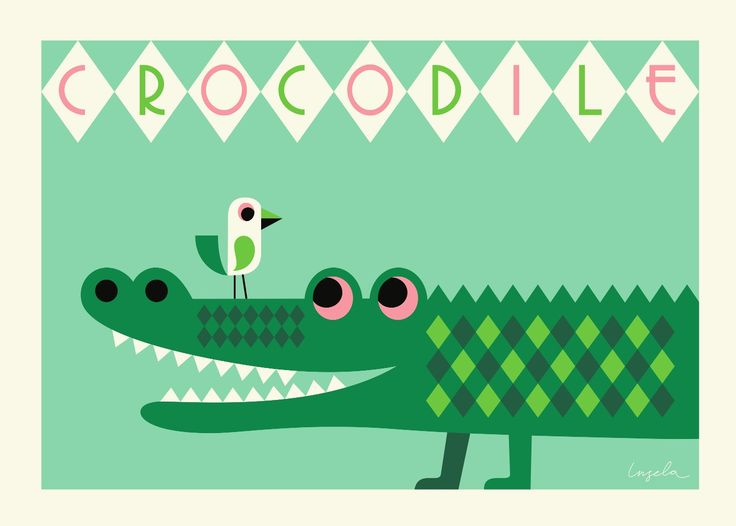 crocodile poster by ingela poster krokodil 50x70 from. Black Bedroom Furniture Sets. Home Design Ideas