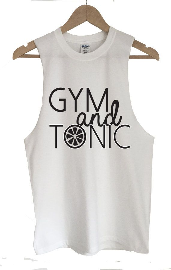 Unisex T-Shirt Vest 'Gym and Tonic' Fun Slogan by KelhamPrintCo