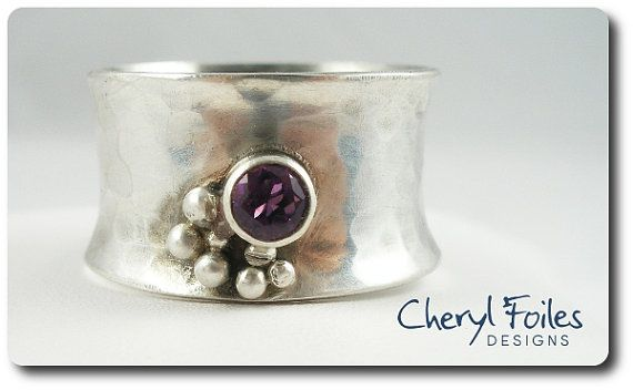 Wide Band Sterling Silver Ring with Purple CZ by Cheryl Foiles Designs $50 Please stop by my store to see more of my unique designs. www.cherylfoilesdesigns.com
