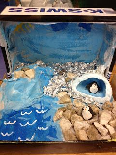 Penguin Habitat Diorama---Ah! Totally remember my mongoose diorama!! That was the best!!