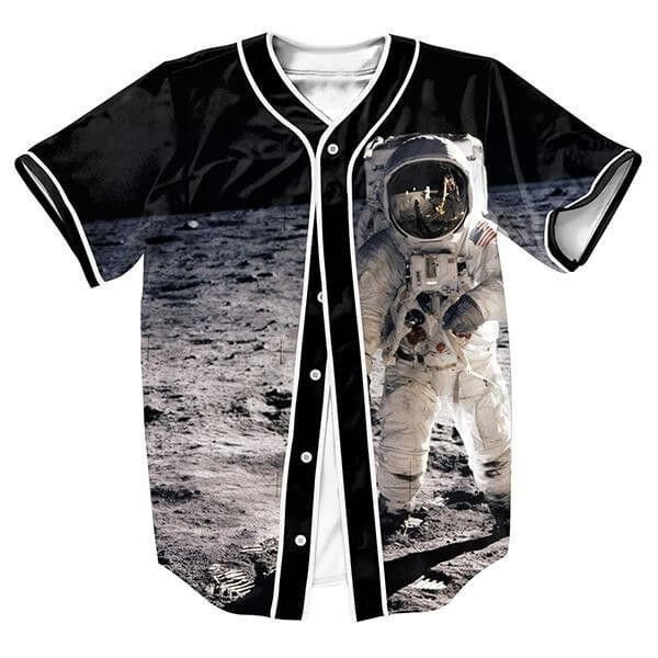 Men's Baseball-Style Man On The Moon Casual Jersey S-3XL
