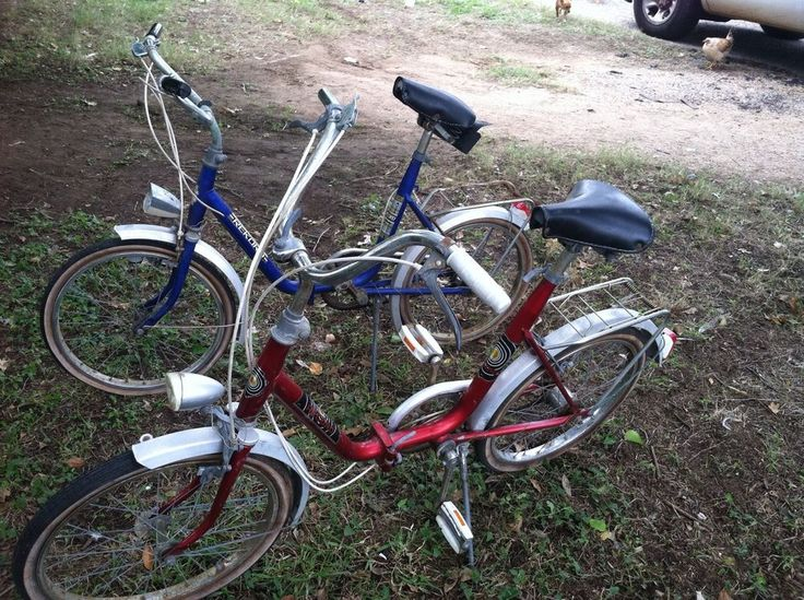 2 Vtg Record Rekord German Folding Bike Bicycle Red Blue Rare