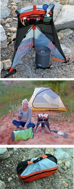 Patent Pending Cirque Backpack kitchen serves 4 purposes: 1. Provides windscreen to increase stove efficiency reduce fuel consumption. 2. Reduces chance of wind, people or pets spilling stove and pot. 3. Organizes cooking necessities and keeps everything at hand. 4. Zips up to store stove, pot, fuel and cooking gear. Weighs only 7 oz.