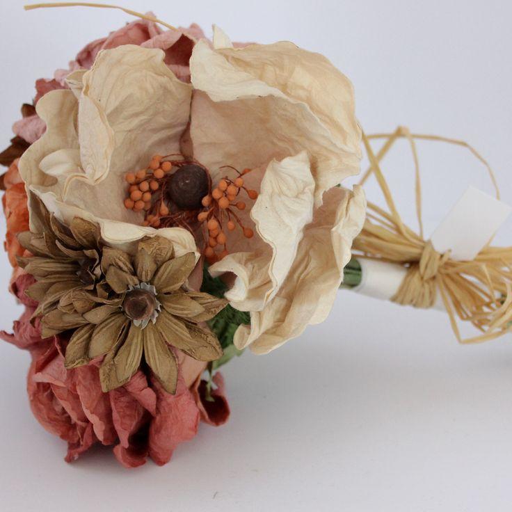 Mixed Paper Flower Bouquet- Earthy Colours – Paper Flowers Australia
