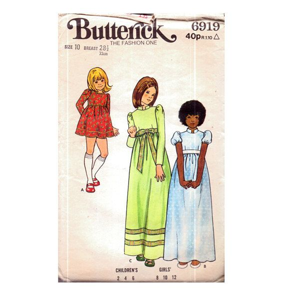 Genuine Vintage 1970s Butterick 6919 Very Pretty Girls Set of 3 Maxi and Mini Dresses Sewing Pattern