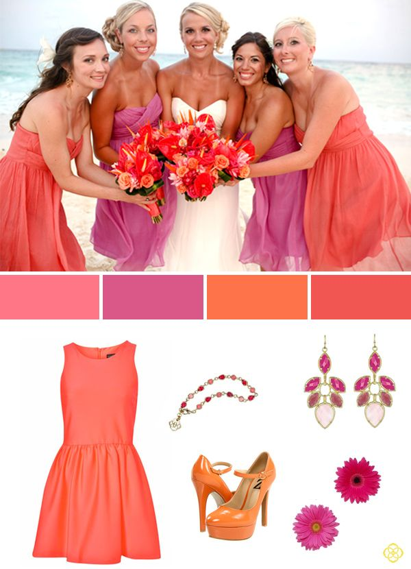 Real_Weddings_Bridal_Color_Palette_Pink_Coral  Coral color palette