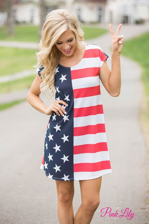 Feel alive and free in our new American Flag Dress! It's the perfect look for Fourth of July or even just an easy, everyday look! It's made of a stretchy material, has short sleeves, and a scoopneck!
