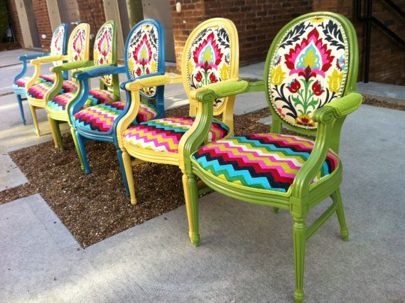 French Louis XVI Armchairs,  Chevron Ikat Green Yellow Blue Eclectic Custom Handmade Vintage Throne Upholstery