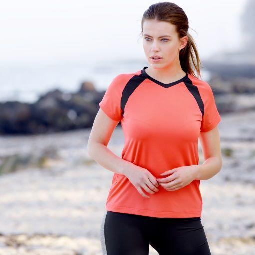 Stretch jersey neon koral sport - STOFF & STIL