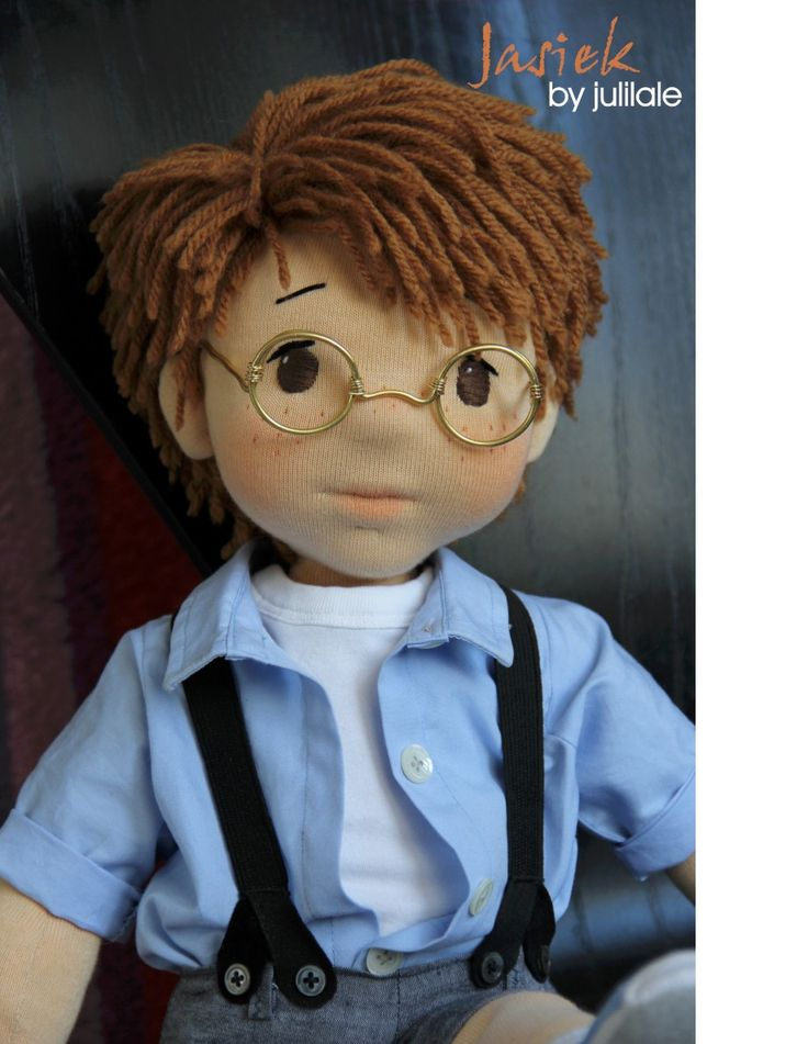 Waldorf inspired doll, 19''doll, red hair, blue collar, handmade doll by juliLale