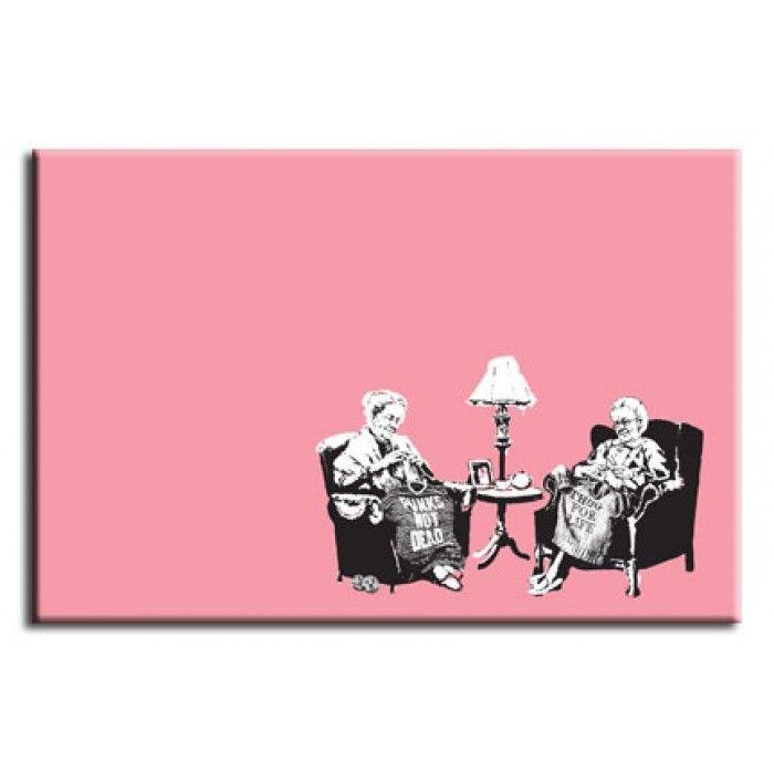 The Banksy Shop - Banksy Canvas Print - Knitting Grannies, £29.95 (http://www.thebanksyshop.co.uk/banksy-canvas-print-knitting-grannies/)