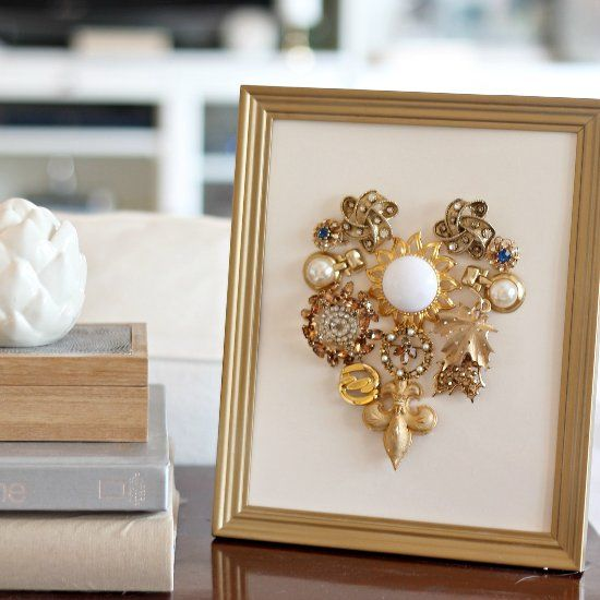 Do you have sentimental jewelry that you're not sure what to do with? Create this DIY art by Heidi Rew of PartiesforPennies.com.