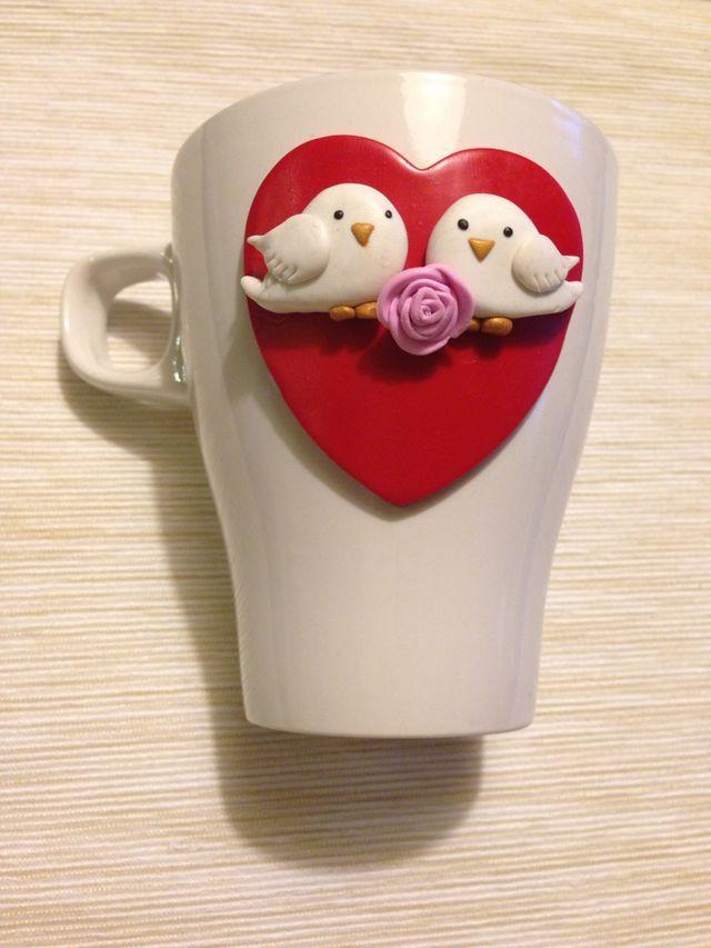 Tazas pajaritos de San Valentin con Fimo