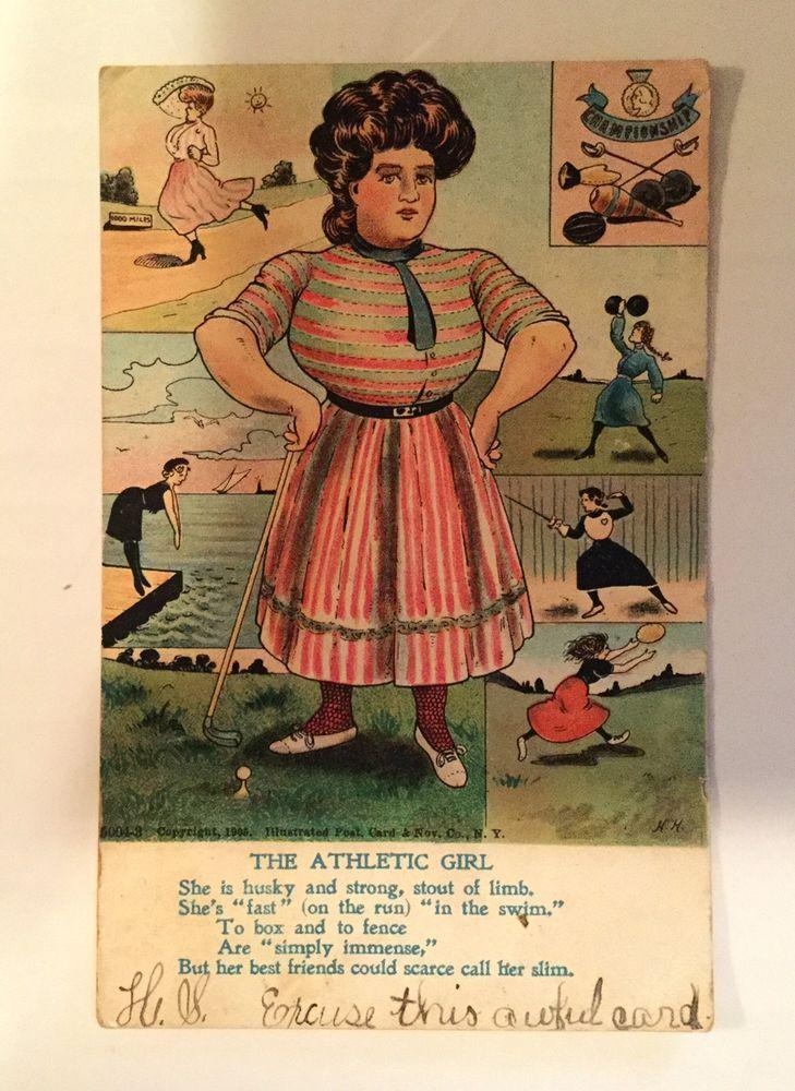 "Antique Postcard Humor Comic Politically Incorrect ""Athletic Girl"" Golf Swimming  | eBay"
