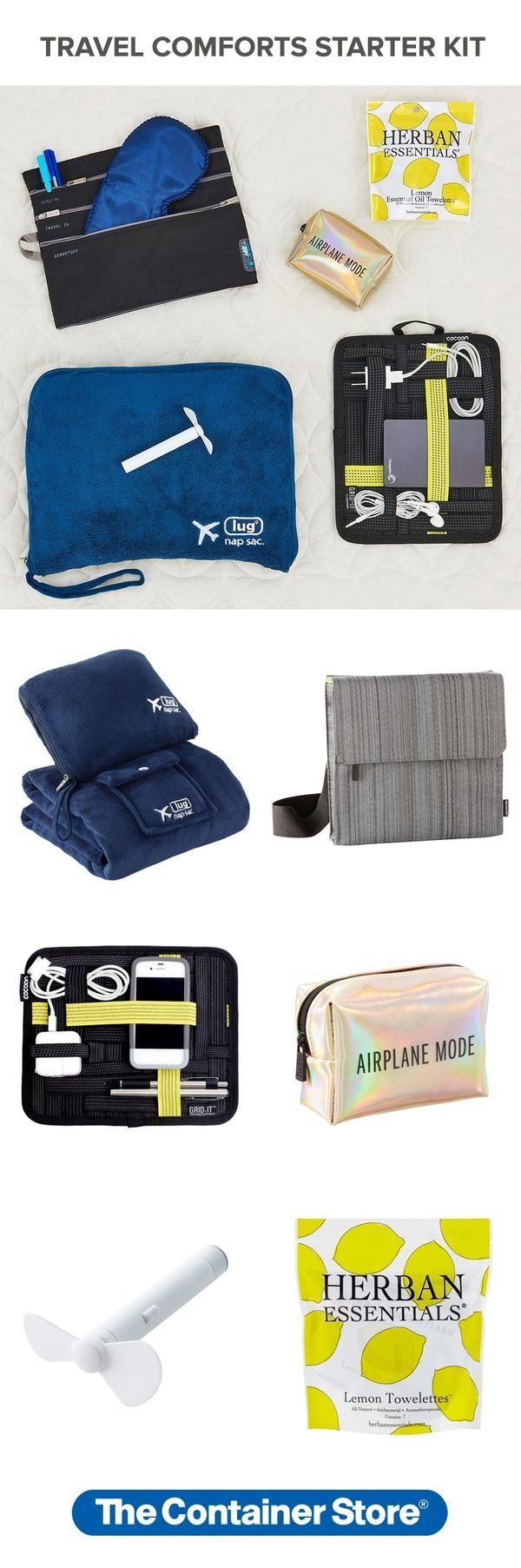 For this kit, we've pulled together some essentials to keep you organized and comfortable on your flight.   Our Travel Comforts Starter Kit includes: (1) Nap Sac Blanket & Pillow, (1) TAB Plus Messenger Bag & Seatback Organizer, (1) Travel GRID-IT! Organizer, (1) Airplane Mode Travel Kit, (1) Super Mini Fan, and (1) Package of 7 Lemon Towelette Wipes.