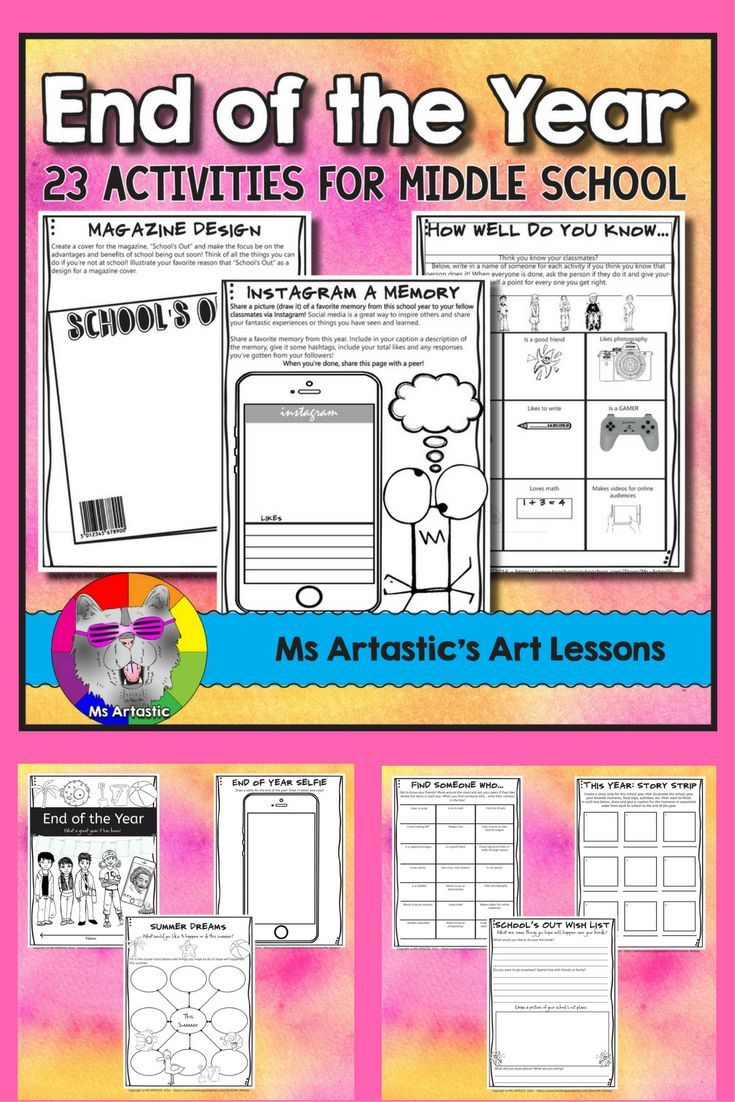 23 End of Year activities to allow students to reflect on the year, plan for the summer or their break, to set goals for next year, to write journal entries about their goals and plans for the future, to get to know their peers better, to draw and be crea