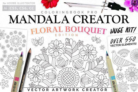 Floral Bouquet Mandala Creator by everdrifter on @creativemarket