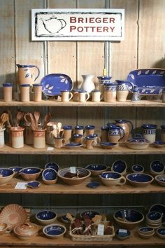 Brieger Pottery in Blanco, Texas. Offering a full line of handmade functional stoneware pottery made by the Brieger's, work by other local artists and craftsmen, and the year round retail store for Hill Country Lavender products, Brieger Pottery is a unique shopping experience.
