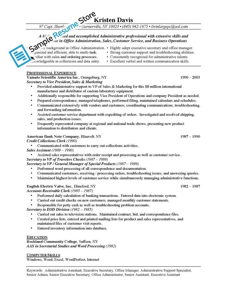 Best 25+ Administrative assistant job description ideas on - example of secretary resume