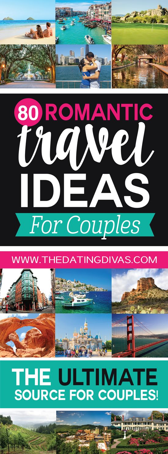 This is seriously the ULTIMATE list of romantic vacation ideas for couples! Perfect for a romantic anniversary trip, honeymoon, or couples getaway! Pinning for later! www.TheDatingDivas.com