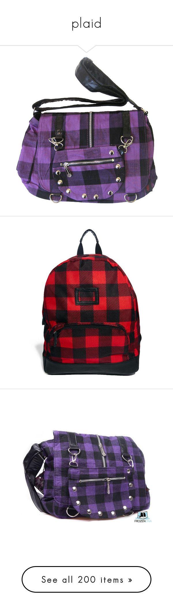 """plaid"" by megsjessd99 ❤ liked on Polyvore featuring bags, handbags, purses, bolsas, handbag purse, man bag, gothic purses, hand bags, purple purse and backpacks"