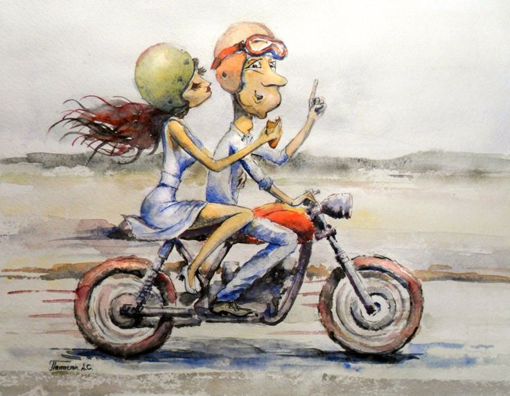 #watercolor #motorcycle #caferacer #love #woman #riders