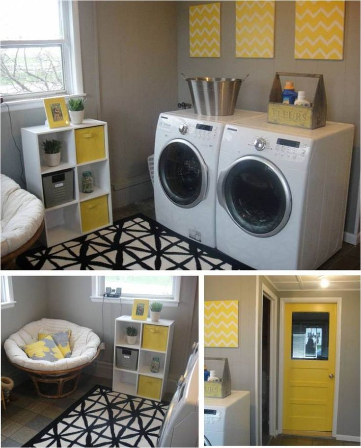 gray + yellow laundry room