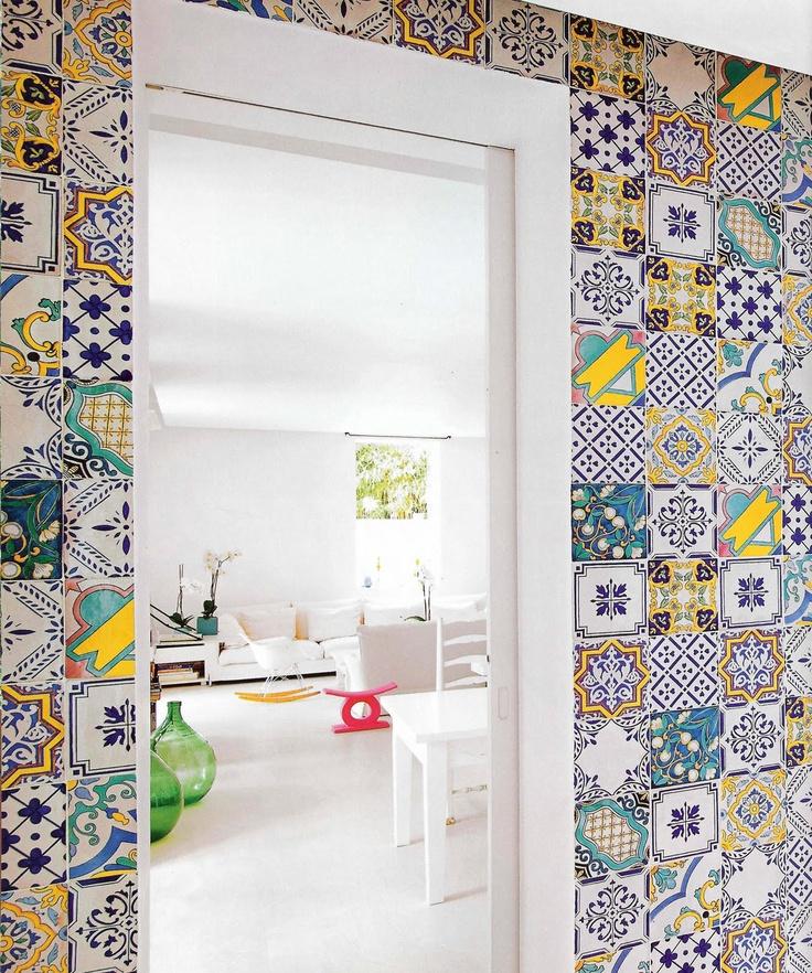 tile wallKitchens, Interiors Design, Vintage Room, Bathroom Ideas, House, Bathroom Decor, Tile Pattern, Accent Wall, Laundry Room