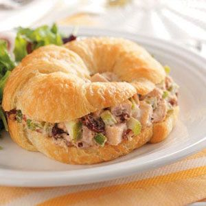 Cherry-Chicken Salad Croissants Recipe Can't wait to try this! 2-1/2 cups cubed cooked chicken breast 2/3 cup dried cherries 1/3 cup chopped celery 1/3 cup chopped tart apple 1/3 cup chopped pecans, toasted 1/2 cup mayonnaise 4 teaspoons buttermilk 1/2 teaspoon salt 1/8 teaspoon pepper 7 croissants, split