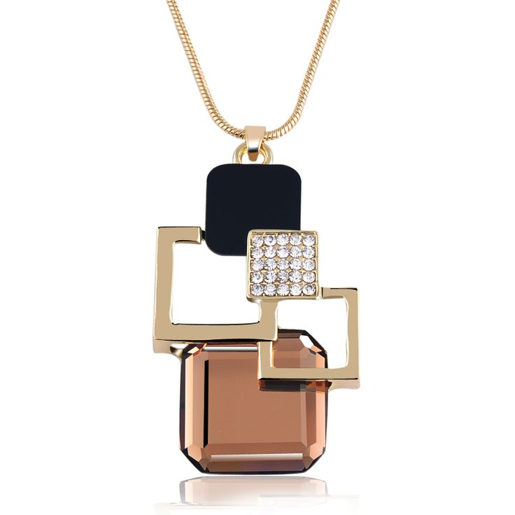 New Fashion  Gold Pendants Street Photography Women Jewelry Luxury Dazzle Colour Crystal Long Necklaces