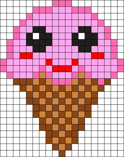 Kawaii Ice Cream Perler Bead Pattern / Bead Sprite